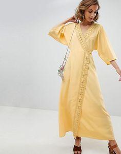 6d6830efd5c ASOS DESIGN - Robe longue avec bordure au crochet