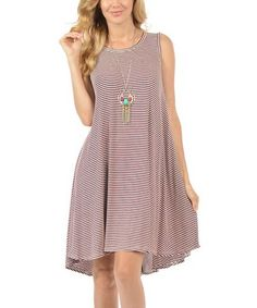 Loving this Wine & White Thin-Stripe Hi-Low Tank Dress on #zulily! #zulilyfinds