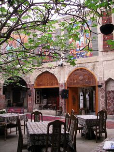 A gorgeous dining courtyard in a Baku restaurant, Azerbaijan. Baku is the capital and largest city of Azerbaijan, as well as the largest city on the Caspian Sea and of the Caucasus region. (V)