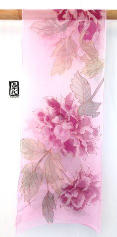 Large Hand Painted Silk Scarf Pink Peonies by SilkScarvesTakuyo
