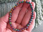 NEW RUSTIC IRIDESCENT MAGNETIC THERAPY HEMATITE BEADED CUFF BRACELET--7 1/2""