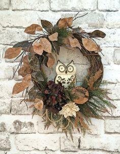 Owl Wreath fo Fall, Fall Wreath for Door, Fall Decor, Fall Door Wreath, Silk… Etsy Wreaths, Owl Wreaths, Autumn Wreaths, Wreaths For Front Door, Wreath Fall, Burlap Flower Wreaths, Grapevine Wreath, Floral Wreath, Wreath Burlap