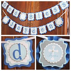 """First Communion / Baptism / Religious """"God Bless Name"""" Banner.  Boy / Blue / Gray.  Fully assembled.  Custom.  Personalized. by CharmingTouchParties on Etsy"""