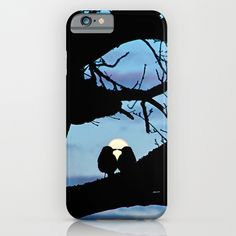 "Kisses in the moonlight iPhone & iPod Case Two birds ""kissing"" each other in the moonlight. It's an original photography of my own, I only added the birds, which are also one of my photographs  birds, animal, silhouettes, nature, romance, romantic, full moon, clouds, sky, tree, branches, blue, black, love,valentine's day, photography"