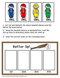 Baseball Math Centers-logics problems and more- a Common Core Pack $