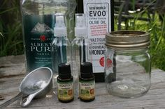 DIY bug repellent -   Lemon Essential Oil  Eucalyptus Essential Oil  Vodka  Olive Oil  Spray Bottles
