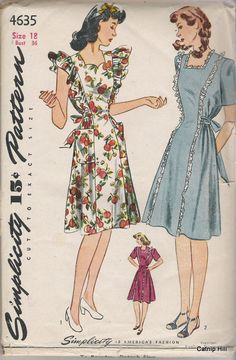Simplicity 4635 Maternity Dress early 40's. Why do maternity pattern expressions always look either sad or disgruntled?