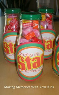 Making Memories … One Fun Thing After Another: You're the Star of Our School Teacher Appreciation Starburst candy in recycled Starbucks bottles with sprayed lids @ Home Ideas and Designs Teacher Appreciation Week, Employee Appreciation, Principal Appreciation, Teacher Treats, Teacher Gifts, Student Gifts, Craft Gifts, Diy Gifts, Starbucks Bottles