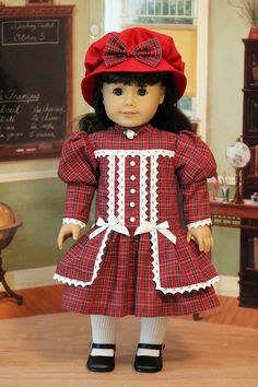 Edwardian Dress and Hat for Dolls like Samantha, Nellie, or Rebecca. $65.00