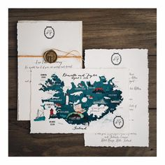 Ideas For Wedding Invitations Illustration Hand Drawn Illustrated Maps Inexpensive Wedding Invitations, Winter Wedding Invitations, Rustic Invitations, Wedding Stationery, Invites, Vintage Winter Weddings, Best Wedding Colors, Iceland Wedding, Wedding Paper