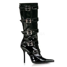 8eec9a0d874 PLEASER MILAN-2015 Black Pat Knee High Boots