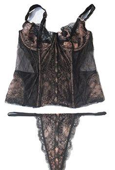 Victorias Secret Designer Collection Corset Thong Set 36d Large Blacknude *** ** AMAZON BEST BUY **