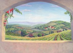 Tuscan Landscape Mural Los Angeles Painting by Tim Cornelius - Tuscan Landscape Mural Los Angeles Fine Art Prints and Posters for Sale
