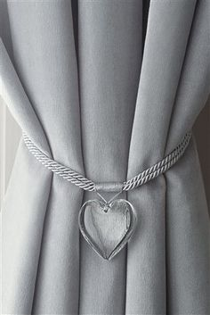 Buy Set Of 2 Acrylic Heart Tie Backs from the Next UK online shop Magnetic Curtain Tie Backs, Curtain Tie Backs Diy, Curtain Rails, Decoration Evenementielle, Grey Curtains, Curtain Designs, Living Room Grey, Window Coverings, Heart Shapes