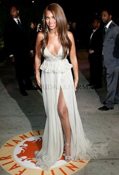 Beyonce Dress Plunging V Neck High Slit Beaded Waist Vanity Fair Oscar Party
