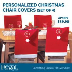 "PERSONALIZED CHRISTMAS CHAIR COVERS (SET OF 4) from Regal Gifts Spread Christmas cheer all around your dinning room table. Covers are made of soft felt. Personalize with family last name or everyone's first name initial. Personalization: Monogram, 1 character for each cover. 19-1/2""W x 37""H Product Number: AP1077 http://www.Regal.ca"