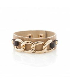 Leather Cuff with gold plated Links - Brown Leather Cuffs, Plating, Jewelry Accessories, Belt, Brown, Bracelets, Black, Fashion, Belts