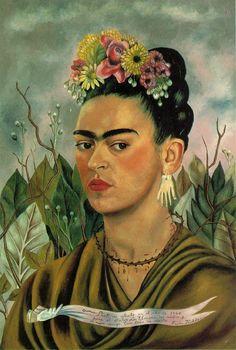 Frida Kahlo with thorn necklace. http://olearystudio2.wordpress.com/2010/10/12/frida-kahlo/fridakahlo-self-portrait-with-thorn-necklace-1940-2/