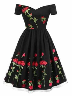 Rose Embroidery Patchwork Dress – Retro Stage - Chic Vintage Dresses and Accessories Cute Prom Dresses, Elegant Dresses, Pretty Dresses, Homecoming Dresses, Casual Dresses, Fashion Dresses, Summer Dresses, Sexy Dresses, Formal Dresses