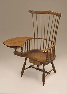 A Masterpiece. Tiger Maple Wood Writing Armchair with a two dovetailed drawers.