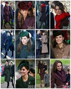 Yesterday was the 6th time the Duchess of Cambridge attended Christmas as member of the Royal family. Here is a brief summary of all of her Christmas looks since becoming Duchess of Cambridge :: 2011 - Coat: Independent dressmaker Earrings: Kiki McDonough Hat: Jane Corbett Shoes: Mascaro Clutch: Mulberry 2012 - Coat: Hobbs 'Celeste' coat Earrings: Kiki McDonough Scarf: Hugo Boss Shoes: Aquatalia by Marvin K 'Royal' Weatherproof Booties Clutch: Gucci 2013 - Coat: green tartan Alexand...