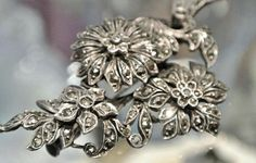 Antique Brooch Sterling Silver Marcasite 1900s Art Nouveau Victorian Edwardian Brooch Flowers Floral Brooch Tiered Layered Trombone Clasp