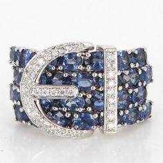 Vintage 18 Karat White Gold Diamond Sapphire Buckle Love Cocktail Ring Estate Jewelry