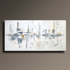 """48"""" Large Original ABSTRACT Painting on Canvas Contemporary Modern Art WHITE and GRAY Gold Black wall art decor- Unstretched"""