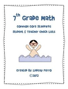 7th Grade Math Common Core Standards Checklists.  She also has checklists for 6th and 8th grades.  $4 each.