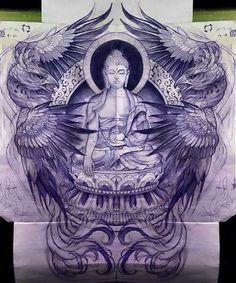 Phoenix wings and Buddha art inspiration tattoo design Asia Tattoo, Lotusblume Tattoo, Backpiece Tattoo, Japan Tattoo, Tattoo Drawings, Buddha Tattoo Design, Buddha Tattoos, Buddhism Tattoo, Chinese Tattoo Designs