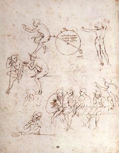 Page: Various figure studies  Artist: Leonardo da Vinci  Place of Creation: Italy  Style: High Renaissance  Genre: sketch and study  Technique: ink  Material: paper  Dimensions: 27.8 x 20.8 cm  Gallery: Musée du Louvre, Paris, France
