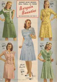 Pretty summer dresses in cotton and rayon from National Bellas Hess. Not much has changed, fashion-wise, since World War II ended a ye. Moda Vintage, Vintage Mode, Vintage Outfits, Vintage Dresses, 1950s Style, 1940s Fashion, Vintage Fashion, Edwardian Fashion, 40s Mode