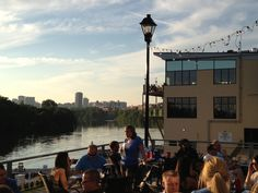 The Boathouse Restaurant , Richmond, VA On the James with a great view of the RVA skyline at dusk. Richmond Restaurants, Digital Text, First Novel, Boathouse, Scallops, Great View, Seattle Skyline, Dusk, Hanging Out
