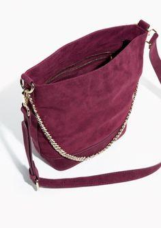 & Other Stories Suede Bucket Bag in Plum
