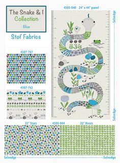 """The Snake & I Collection by Stof Fabrics. Blue combination. A panel of snake 24"""" x 44"""" The measurements (cm and inch) layout on both sides. Stars / 22"""" and Hearts / 22"""" two designs in a yard!."""