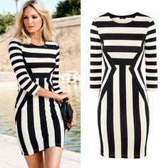 Find More Dresses Information about 2014 New Spring Summer gauze paillette bsic slim hip dress bodycon casual Striped Dress Black and White Striped Dress Women,High Quality Dresses from Tina Fashion Woman Clothing Store on Aliexpress.com