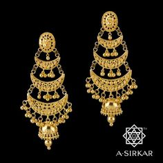 Lohri Earrings : Lohri and the celebrations - singing, dancing and feasting - are ably distilled into this pair of tiered 'datri' earrings where the three-step sickles, generously ordered ball-jhur, and a substantial half-jhumka make an ornament that uniquely harbours the energy and unbridled joyousness that the women of Punjab are deservedly famous for.  The spirit of Punjab, nay, the spirit of India, and all its people, and this lovely, lovely season, is after all quite contagious.