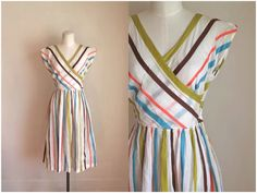 vintage 1940s striped dress - ICE CREAM SOCIAL sundress / xs by MsTips on Etsy https://www.etsy.com/listing/229348625/vintage-1940s-striped-dress-ice-cream