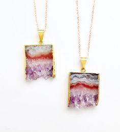 Amethyst Slice Necklace - Geode Druzy Crystal Gemstone - Gold Dipped