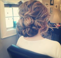 Wedding Hair. Big natural looking curls and loose bun (or just loose pieces pinned back).
