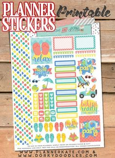 Pool Party Stickers Planner Printable - summer fun planner stickers, great for pool parties, trips to the beach, or just setting a summer-y vibe in your planner!