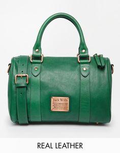 Imagen 1 de Bolso de cuero en color verde botella de Jack Wills