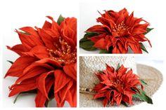 Fiore in pelle ovina, lavorato a mano, è decorato con cristalli. Da utilizzare come spilla o come fermaglio per capelli.
