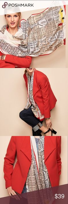 """Talbots's Cityscape Classic Oversized Scarf Inspired by the iconic architecture of New York City streets, our Cityscape-Print Scarf features your favorite uptown destination - Talbots - and our famous red door. Whimsical yet wearable, the classic oblong shape and silky smooth viscose fabric make for effortless looping, draping or tying - whichever you prefer.   26"""" x 70"""" 3/8"""" frayed fringe edge 100% viscose Hand wash cold Line dry Worn once. Talbots Accessories Scarves & Wraps"""