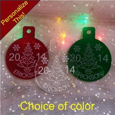 Personalized Name Christmas Tree design Ornament Custom Engraved Acrylic laser etched by FinesseLaserDesigns on Etsy