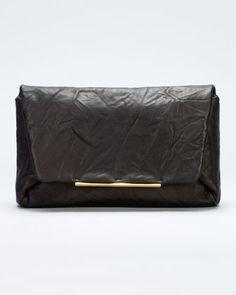 Mai Tai Crinkled Lambskin Clutch Bag, Black by Lanvin at Neiman Marcus.