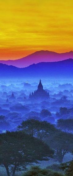 Magical Sky of Bagan, Burma, Myanmar