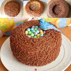 White cake, light mocha marshmallow frosting with a wider cake decorating tip and little easter cadbury eggs for the center