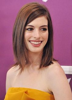 Anne Hathaway - Long Layers - Click image to find more Hair & Beauty Pinterest pins