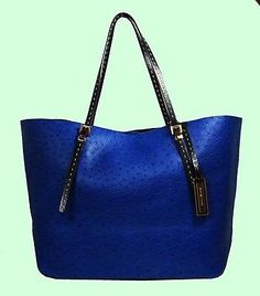 Wedding present to myself? MICHAEL KORS GIA Sapphire Blue Ostrich Leather Tote Bag Msrp $895 *FREE SHIPPING